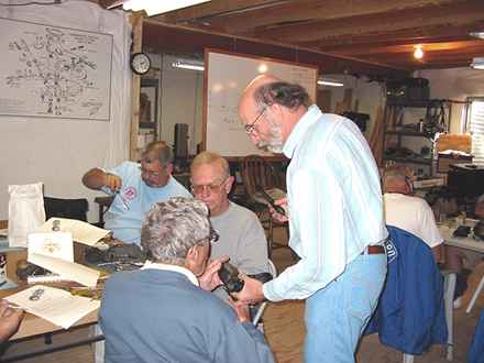 """Professor"" Pelikan, ""Doctor of Carburetors"", conducts class at his Zenith Seminar."