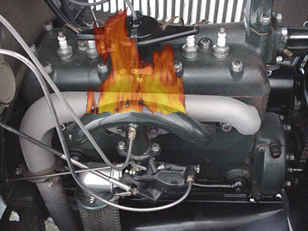 Driver's Side Engine Compartment, with Flames